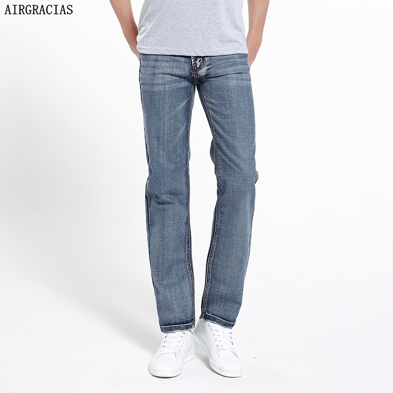 AIRGRACIAS Brand Jeans Retro Nostalgia Straight Denim Jeans Men Plus Size 28-42 Men Long Pants Trousers Classic Biker Jean