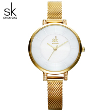 shengke relogio feminino golden quartz watch women watches ladies clock steel bracelet wristwatches reloj mujer elegant watch