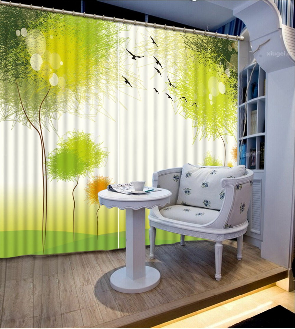 Green curtains for bedroom - Fashion 3d Curtains Green Scenery Curtain Window Room Home Decoration Curtains For Bedroom China