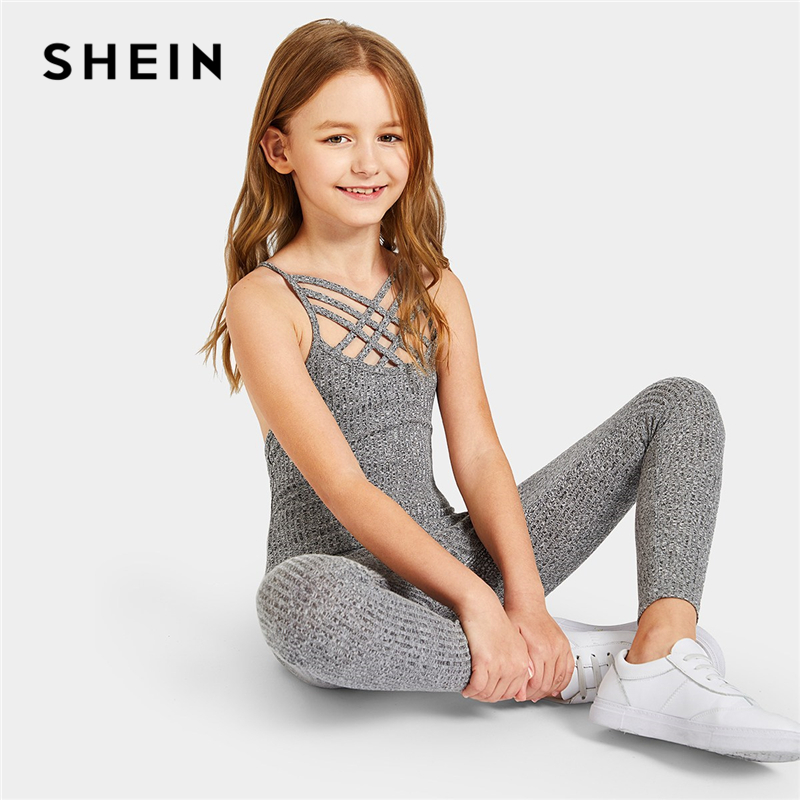 SHEIN Kiddie Grey Solid Caged Neck Marled Knitted Skinny Casual Jumpsuit Girls 2019 Spring Sleeveless Criss Cross Kids Jumpsuits open shoulder criss cross marled knit t shirt