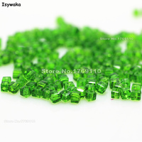 Isywaka 1980pcs Cube 2mm Deep Green Color Square Austria Crystal Bead Glass Beads Loose Spacer Bead
