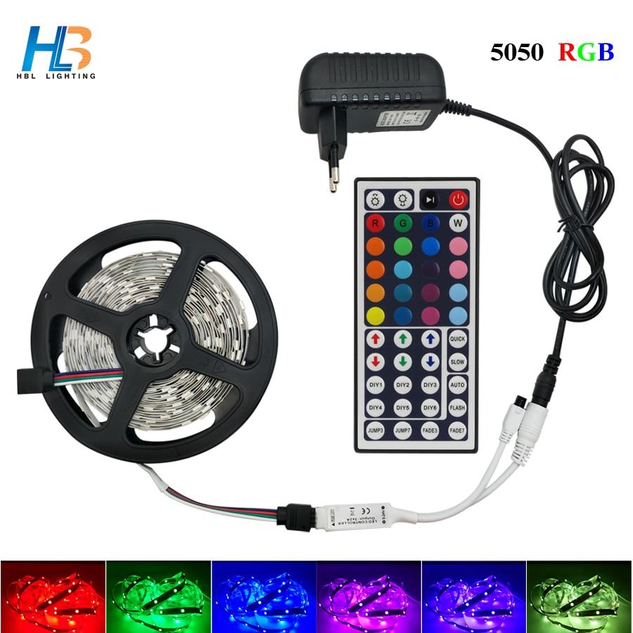 5 м 10 м 15 М 5050 Светодиодная лента DC 12 В RGB гибкая лента Светодиодная лента светильник с ИК-пультом дистанционного управления для домашней кухн...