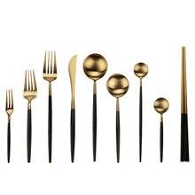Черный золотой набор столовых приборов из нержавеющей стали кухонный десертный ужин вилка ложка нож набор посуда набор подарок Прямая доставка