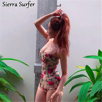 And American New Retro Barbed Rose Court Steel Support Small Chest Conjoined Thin Swimming Swimsuit