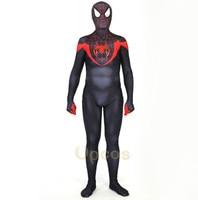 Black Red Spiderman Costume 3D Print Ultimate Spiderman Web Head Junior Miles Morales Costume Spider Boy