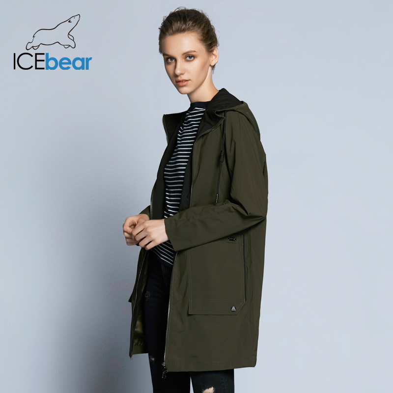 ICEbear 2018 new woman trench coat fashion with full sleeves design women coats autumn brand casual plus size coat GWF18006D