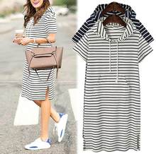 Plus Size 4XL 5XL Sweatshirts dress shirt summer shorts sleeve black and white striped blouse Dresses Casual work business(China)
