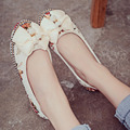 2016 New Women Flower Bow Flats Slip On Cotton Fabric Casual Shoes Comfortable Round Toe Student Flat Shoes Woman Plus Size