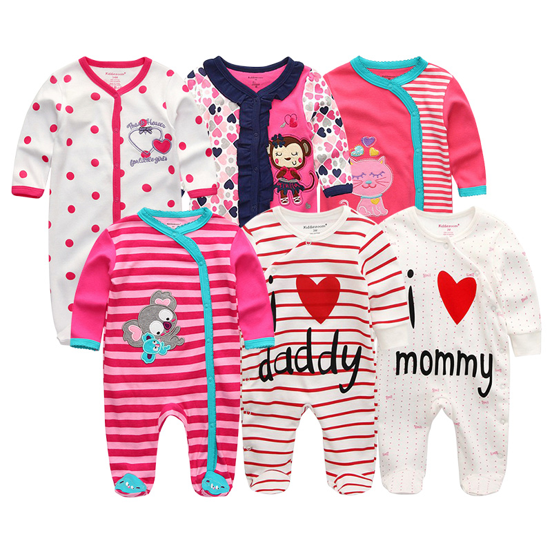 2019 6pcs lot Newborn Unisex 100 Cotton Baby Girls Clothes Set Rompers Summer Baby Boys Clothes
