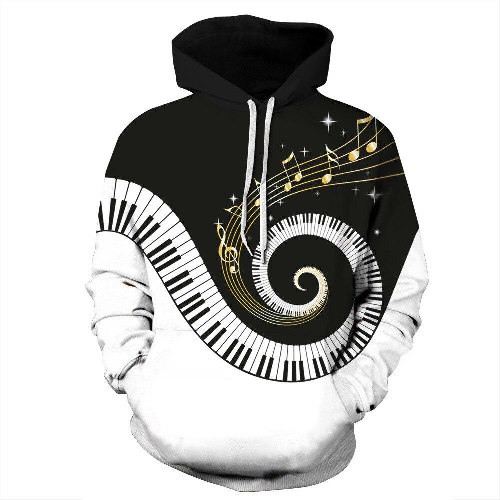 2018 neue Hoodies Sweatshirts Männer 3D Pullover Lustige Rotierenden Klavier Rock Trainingsanzüge Mit Kapuze Mann Jacken Mode Lässig Outwear