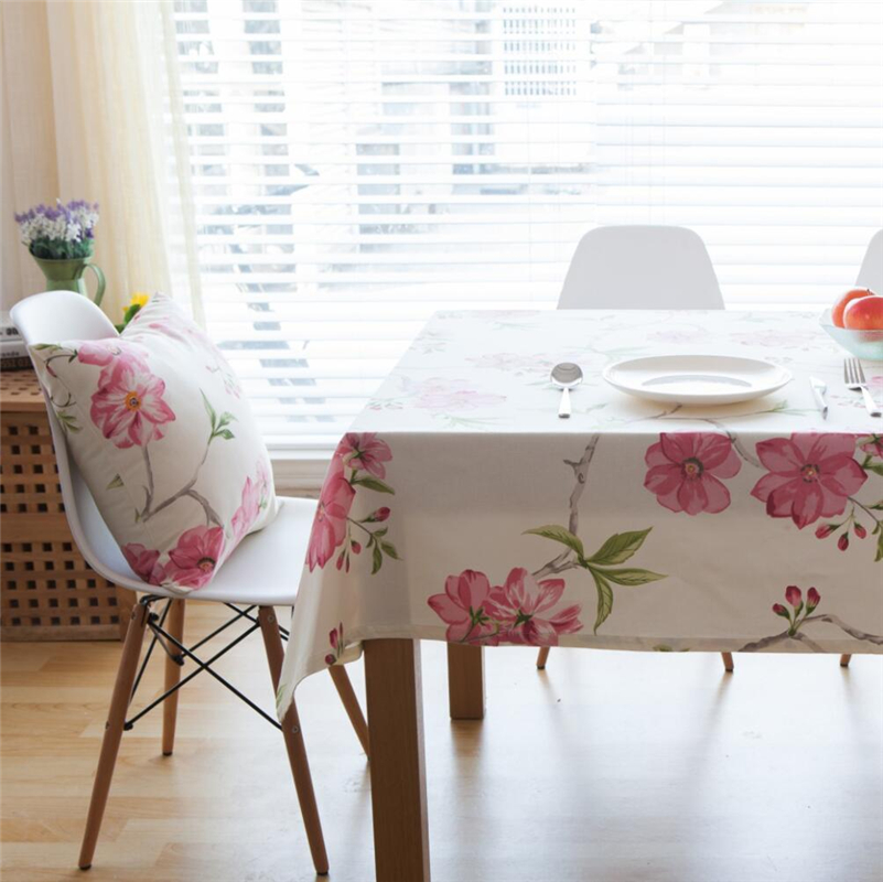 Beautiful 2017 New American Handmade Cotton Tablecloth Rose Floral Printed  Rectangular Table Cover Wedding Table Cloth Home Party Decor