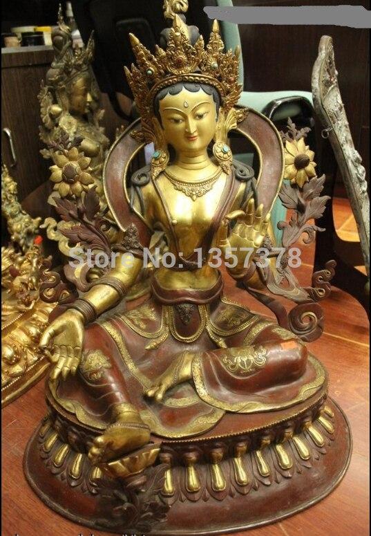 """Shitou 00599 27 """"Templo Tíbet Budismo Purple Bronce 24 K Oro Lucky Green Tara Kwan-yin Estatua"""
