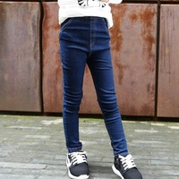 2016 New Style Fall Winter Girls Jeans Kids Clothing Children Skinny Pants Elastic Waist Fashion Trousers