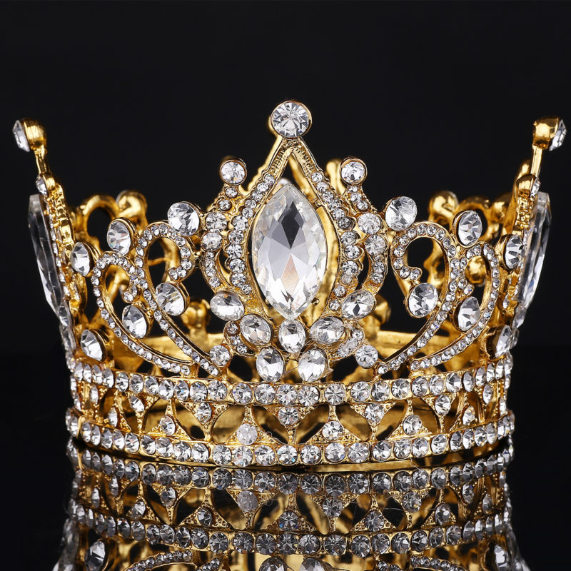 Big European Royal Crown Golden Rhinestone crown Tiara Super Large Quinceanera Crown Wedding hair Accessories Wholesale crown crown xti6002