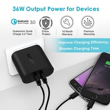 AUKEY Fast Charger Quick Charge Dual QC 3.0 USB Phone Universal Wall Travel Charger For Samsung galaxy S8 For Xiaomi Redmi 5 4x
