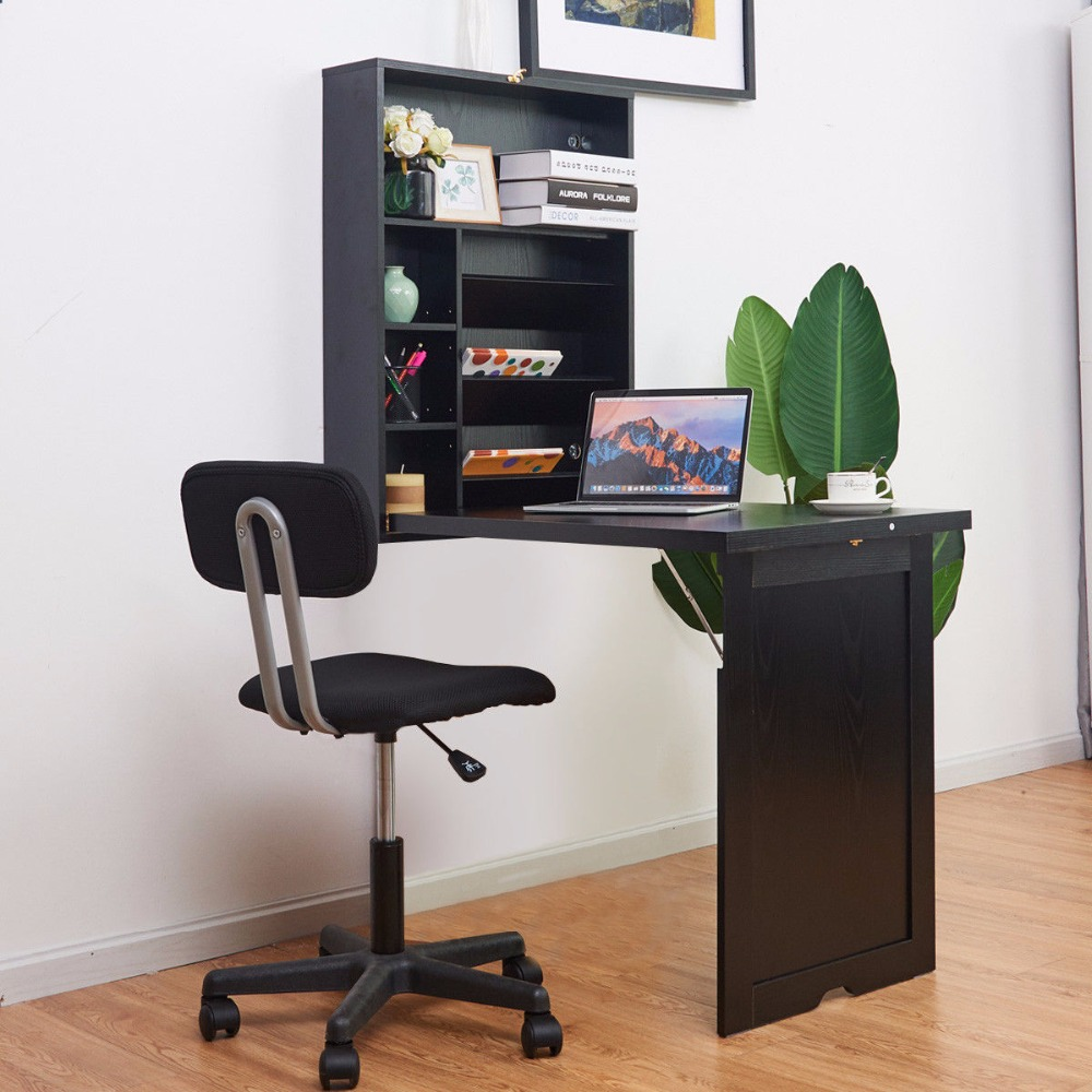 Giantex Wall Mounted Fold-Out Convertible Floating Desk Space Saver Writing Table HW60361