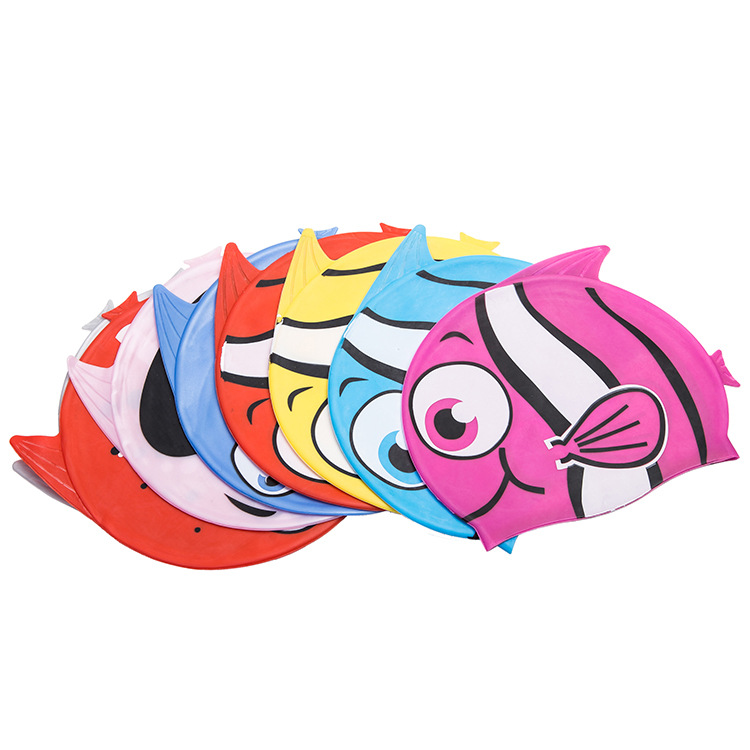 New children Cartoon fish style Swimming Caps Silicon Waterproof Ear Protect Swim Pool Hats kids swimming hat freeshipping