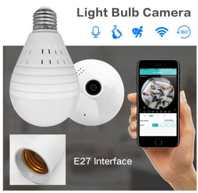 Фотография 1080P Bulb Light Wireless IP Camera 3.0 MP 360 Degree Panoramic FishEye Security CCTV Camera Wifi P2P Motion Detection Camera IP