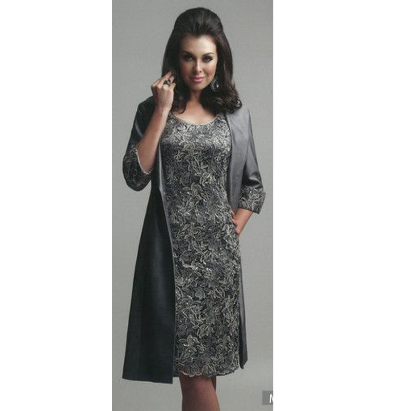 3951381fc3c Dark Grey Lace Knee Length Mother of the Bride Dresses With Long Jacket  2016 Formal Evening Gowns Formal Dress Plus size-in Mother of the Bride  Dresses from ...