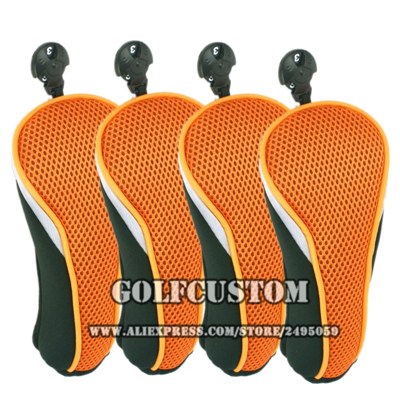 4pcs/set orange golf  Headcovers whit  Interchangeable No. Tag 3 4 5 7 X  for golf  Hybrid club  fits golf UT