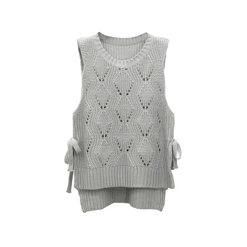 2017 fashion korean spring bow bandage pullover knitted sweater women hollow crochet vest waistcost sleeveless sweaters tops