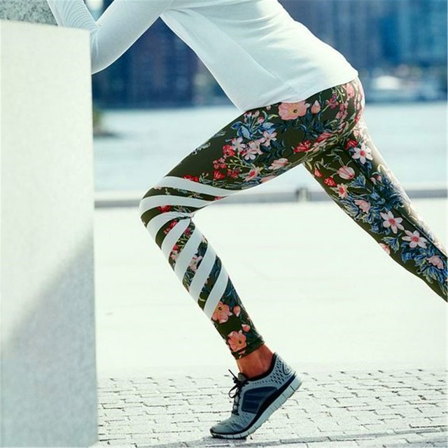 Floral Print High Waist Compression Yoga Pants Wide Waistband Quick Dry Striped Workout Yoga Leggings Fitness Apparal