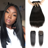 Queen Virgin Remy 100% Human Hair Bundles With Closure 3 4 Pcs Brazilian Hair Weave Bundles With Lace Closure Straight 28 Inch