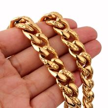 7-40 316L Stainless Steel Mens Boys Super Heavy Gold Tone Chain Curb Cuban Necklace Wholesale Men Gift Punk Jewelry chimdou 2018 new 55cm 13mm 10mm 7mm 316l stainless steel necklace men jewelry cuban chain party gift rock punk style an349