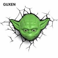 Guxen Звездные войны йода 3D деко зеленый Пластик стены творческий ночник для мальчика Спальня спальный светодиодный освещения