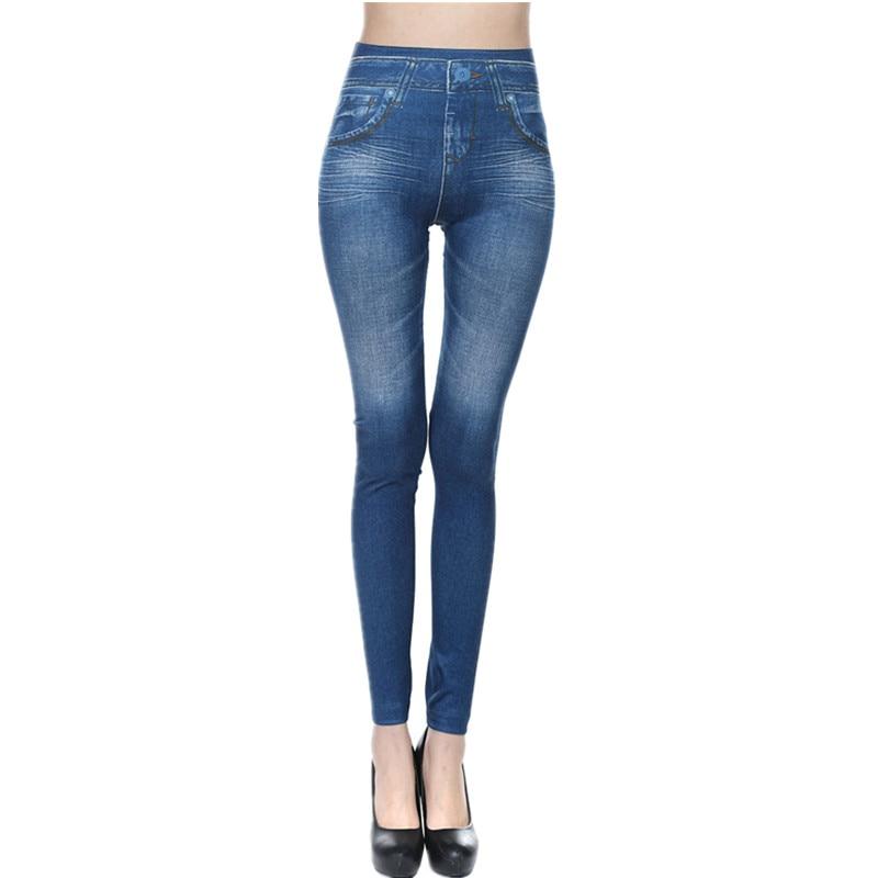 CHRLEISURE Big Size S-2XL Woman Jean Leggings Blue Black 2 Real Pockets Mid Waist Slim Europe Fold Stretch Legging Women