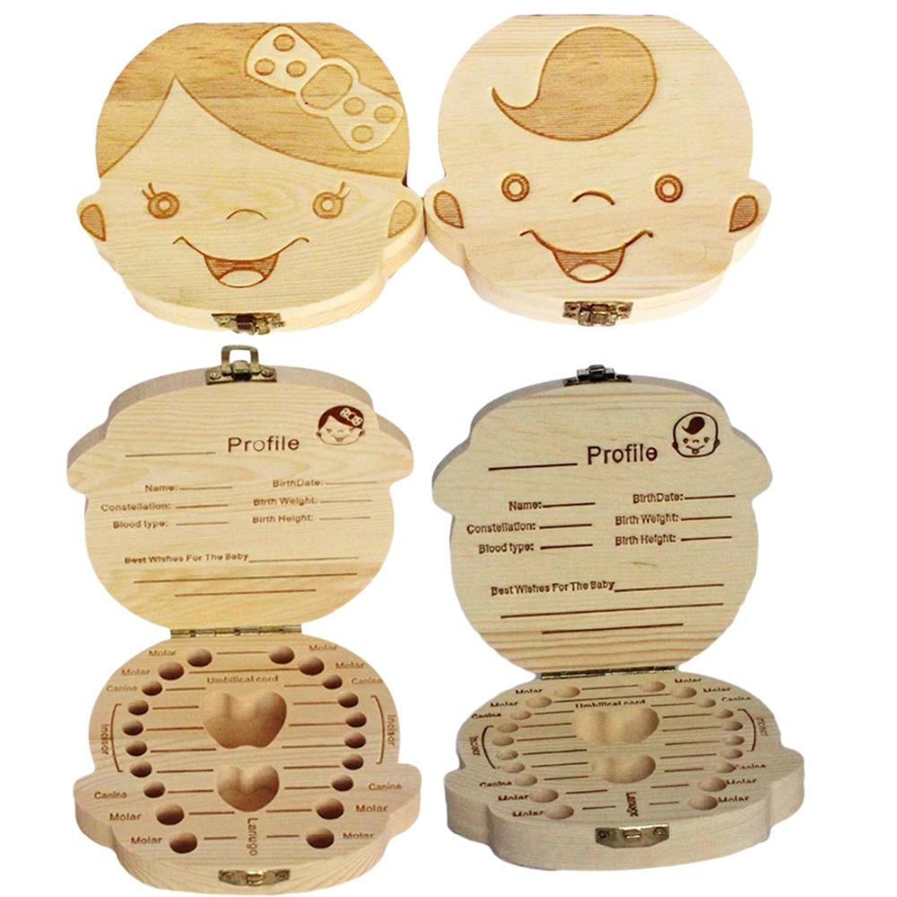 Wooden Kids Baby Tooth Box Organizer Milk Teeth Wood Storage Box for Boy Girl