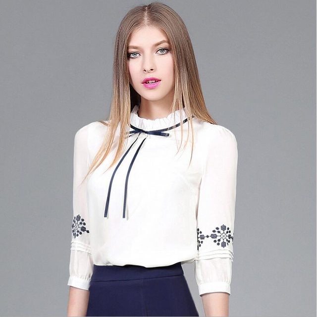 Korean style chiffon pullovers women blusa high quality fashion sexy embroidery seven sleeve double layer collar slim shirt E360