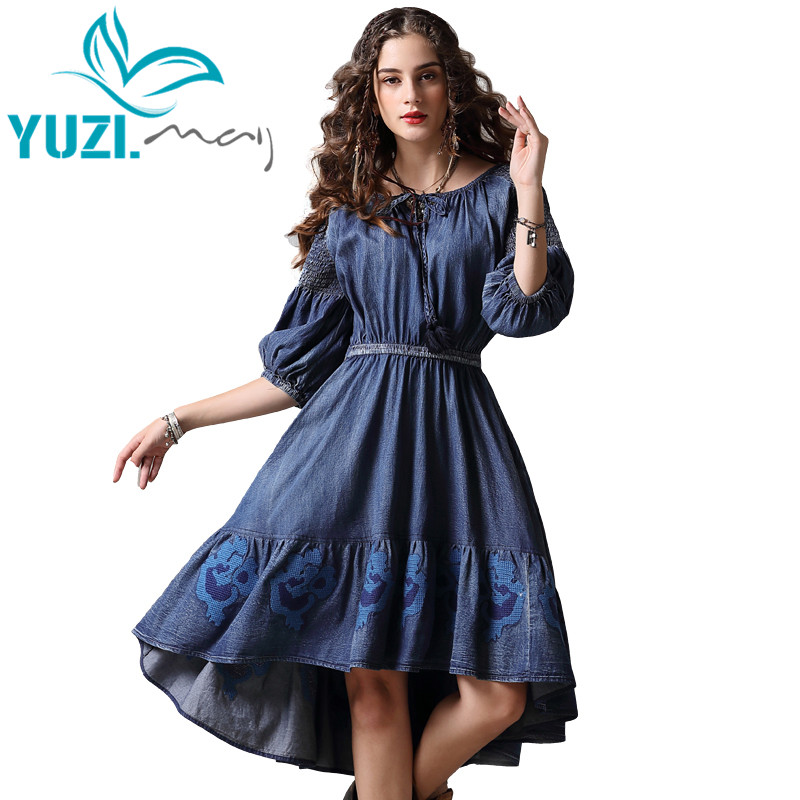 Summer Dress 2018 Yuzi may Boho New Denim Blue Vestidos O Neck Three Quarter Sleeve A