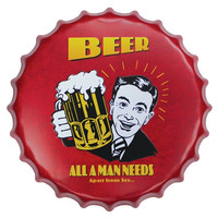 40CM Beer Bottle Caps Decorative Tin Signs Cafe Beer Bar Wall Decoration Plaque Vintage Plates Home Decor Dropshipping