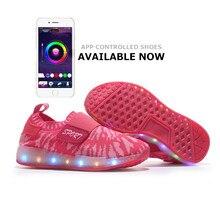 APP управления LED Обувь Крыло Крюк & Toop Света Вспышка Светящиеся Обувь мужской Детская Обувь Soild Simple 2017 11 Цвет USB Chagring