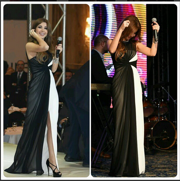 2015 Inspired by Nancy Ajram Arabic Dubai Muslim Celebrity Dresses Ruched  Bodice Black  White Evening Prom 538a30178ab8