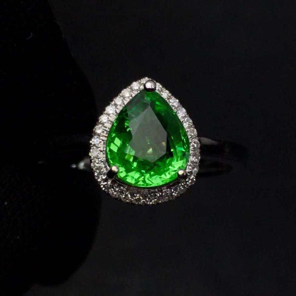 Tsavorite Ring Fine Jewelry Real 18 K Gold Jewelry Natural Unheat 1.45ct Tsavorite Gemstones Tsavorites Female Wedding RingsTsavorite Ring Fine Jewelry Real 18 K Gold Jewelry Natural Unheat 1.45ct Tsavorite Gemstones Tsavorites Female Wedding Rings