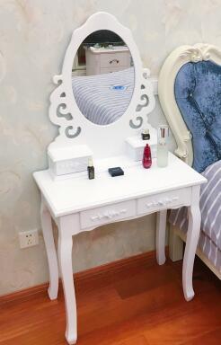 Столик для макияжа в маленькой спальне. Мини из натурального дерева Белый Сельский туалетный столик - 3