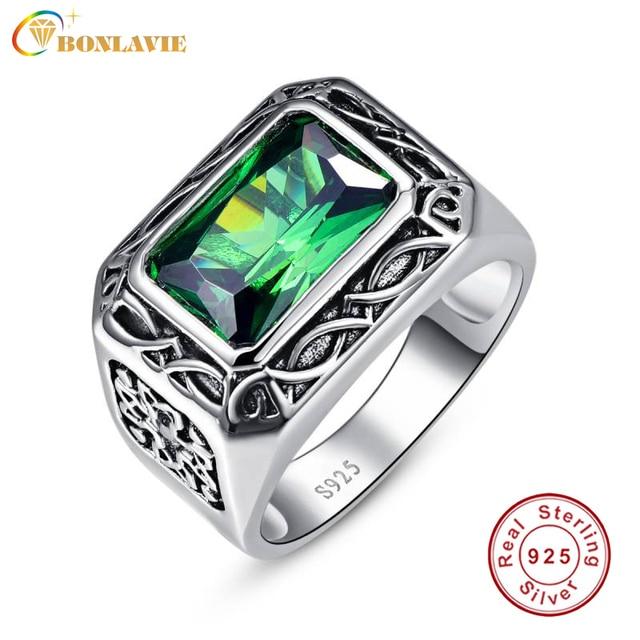 Bonlavie Fine 6.8Ct Nano Russian Emerald Men Ring  Solid 925 Sterling Sliver Jewelry Engagement Wedding Ring For Men Size 6-14