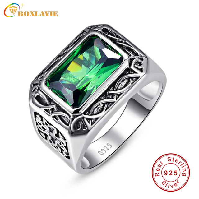 Fine 6.8Ct Nano Russian Emerald Ring For Men Solid 925 Sterling Sliver Jewelry E