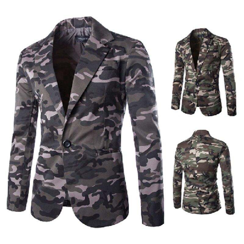 New Camouflage Colors Famous Brand Casual Suit Men Business Blazer Jacket Men's Fashion Single Button Blazers
