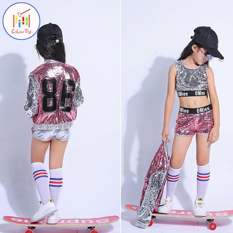 Mimixiong New 2018 Summer Hip-hop Girls Jazz Dance Fashion Children Girls Clothes Toddler Kids Clothing Kids Shirt Tops Pants