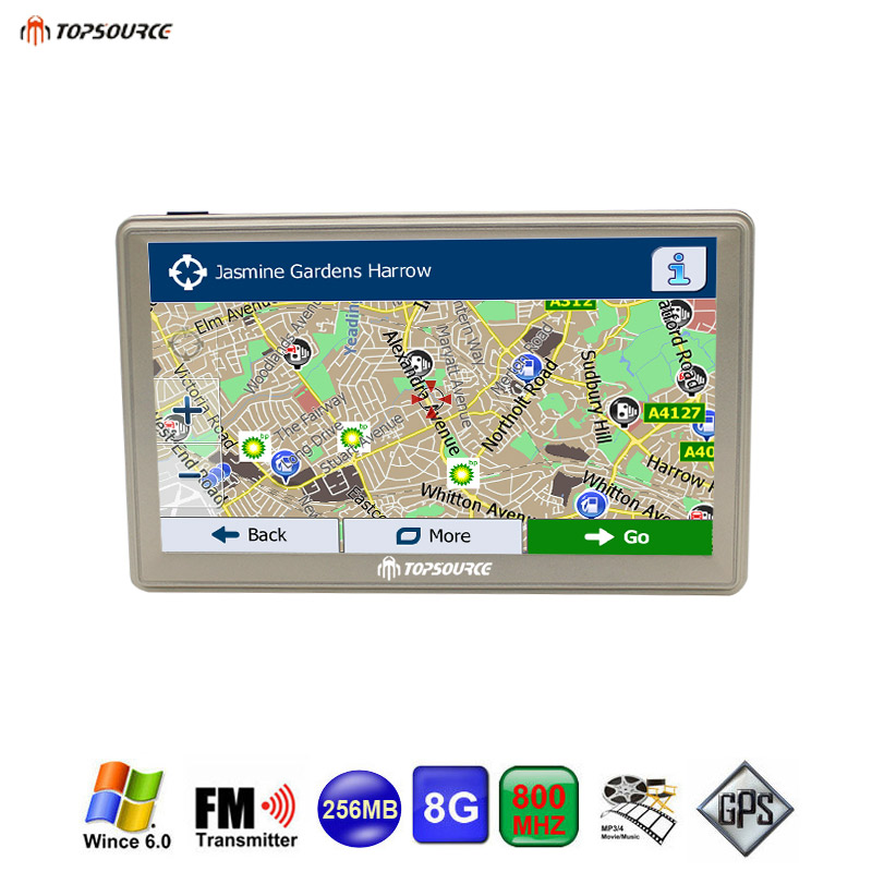 TOPSOURCE 7 inch Car GPS Navigation Resistive screen FM 8GB/256M WinCE 6.0 Map For Europe/USA+Canada Truck vehicle gps Navigator aw715 7 0 inch resistive screen mt3351 128mb 4gb car gps navigation fm ebook multimedia bluetooth av europe map