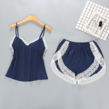 Two Piece Sets Women Sleepwear Silk Pajamas Sexy Nightwear Satin Pyjamas Lace Homewear Pijamas