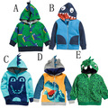 Hot Sale Children's Hooded Jackets Summer Boy and Girl Outwear Fashion Long Sleeve Cartoon Dinosaur Print Coat E1384