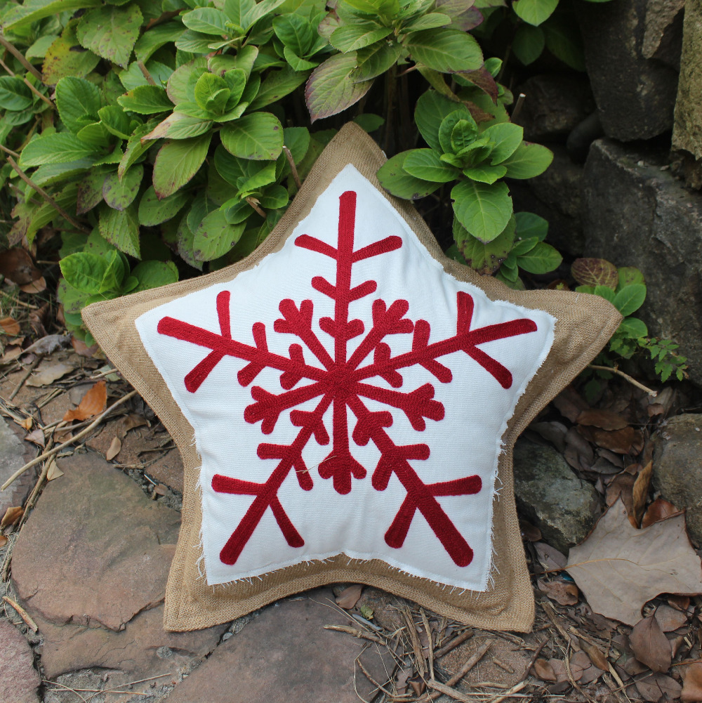 new snowflake star christmas gift decorative jute cushions throw pillows case embroidery sofa chair seat home decor present
