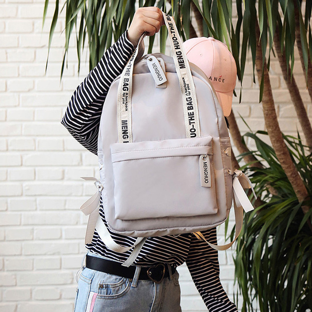 Menghuo Large Capacity Backpack Women Preppy School Bags For Teenagers Female Nylon Travel Bags Girls Bowknot Backpack Mochilas 2
