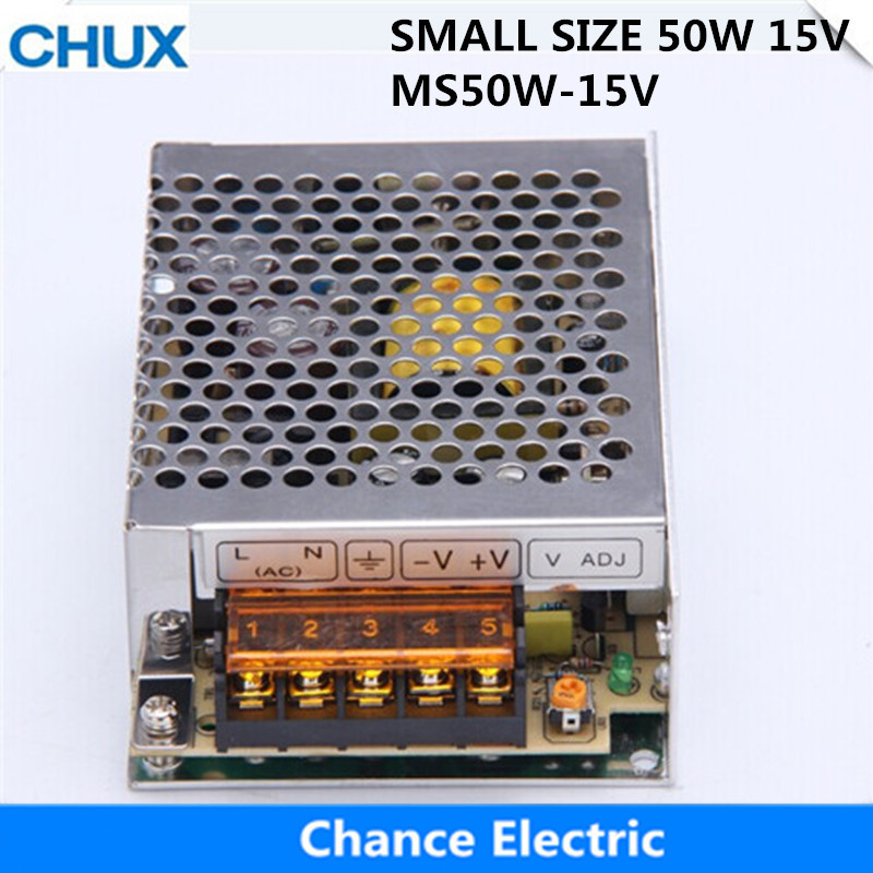 50W Switching Power Supply 15V Small Volume  for LED Strip light AC to DC (MS-50W-15V)  Single Output 3.4A Power Suppyliers