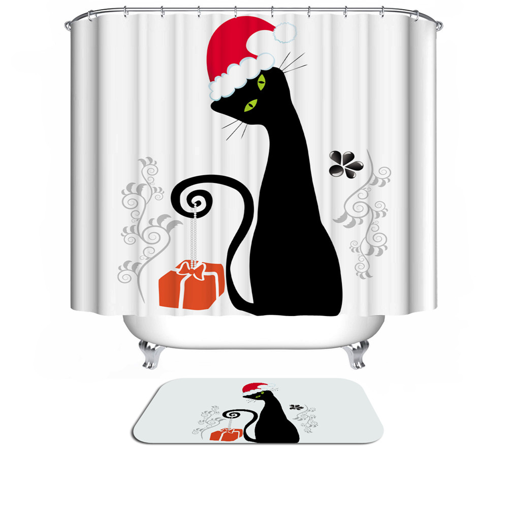 Custom Funny Christmas Shower Curtain 3d Bath Curtain For Bathroom Modern Creative Cat Waterproof Fabric Hooks Home Decoration