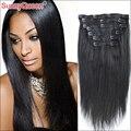 Grau 7A Grampo em Extensões de Cabelo Humano Luz Yaki/Yaki Em Linha Reta peruano Grampo de Cabelo Virgem para As Mulheres Negras Rainha Ensolarado cabelo